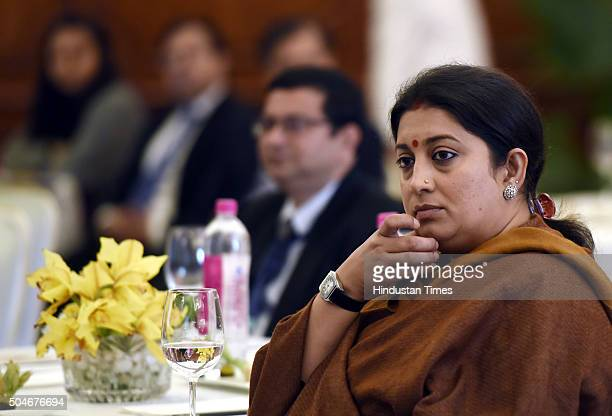 Minister Smriti Irani interacts with participants during the Tata Trusts UCLA Global Forum Innovating for a Sustainable Energy Future on January 12...
