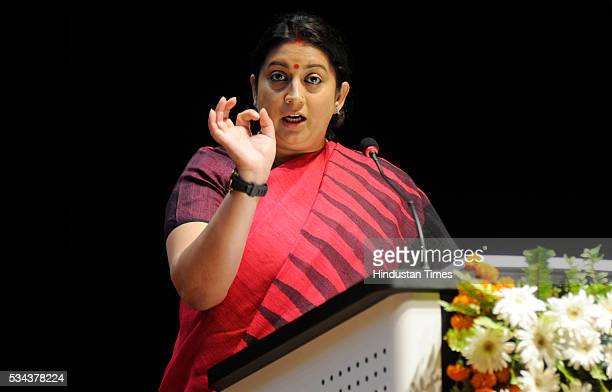 Minister Smriti Zubin Irani addressing during the launch of Bharatvani web portal and App at Dr Bhimrao Ambedkar University on May 25 2016 in Lucknow...