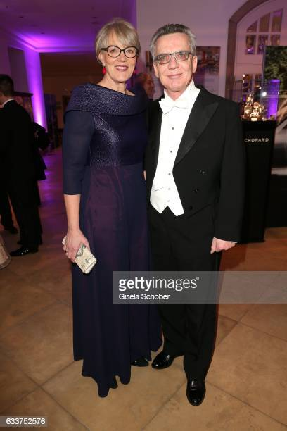 Minister Thomas de Maiziere and his wife Martina de Maiziere during the Semper Opera Ball 2017 reception at Hotel Taschenbergpalais Kempinski on...