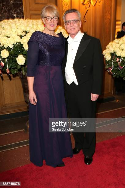 Minister Thomas de Maiziere and Martina de Maiziere during the Semper Opera Ball 2017 at Semperoper on February 3 2017 in Dresden Germany