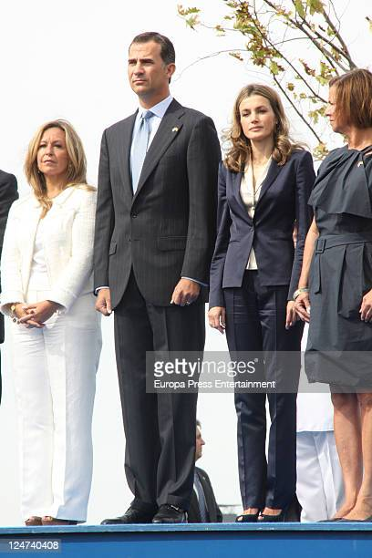 Minister Trinidad Jimenez Prince Felipe of Spain Princess Letizia of Spain and US Ambassador in Spain wife Susan Lewis Solomont honour 9/11 victims...