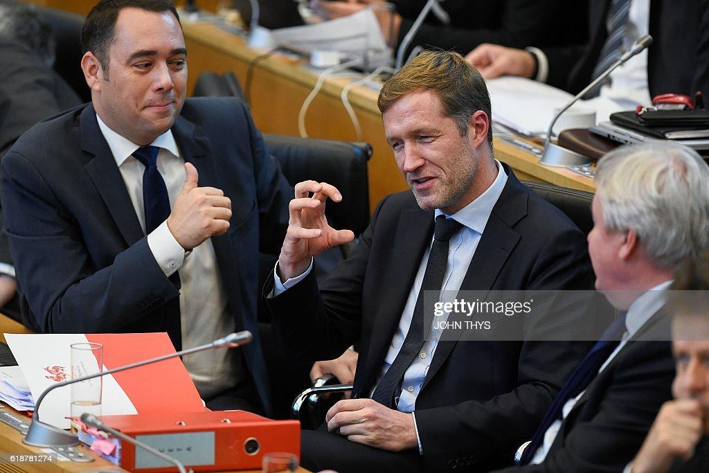 BELGIUM-EU-CANADA-POLITICS-TRADE-CETA : News Photo