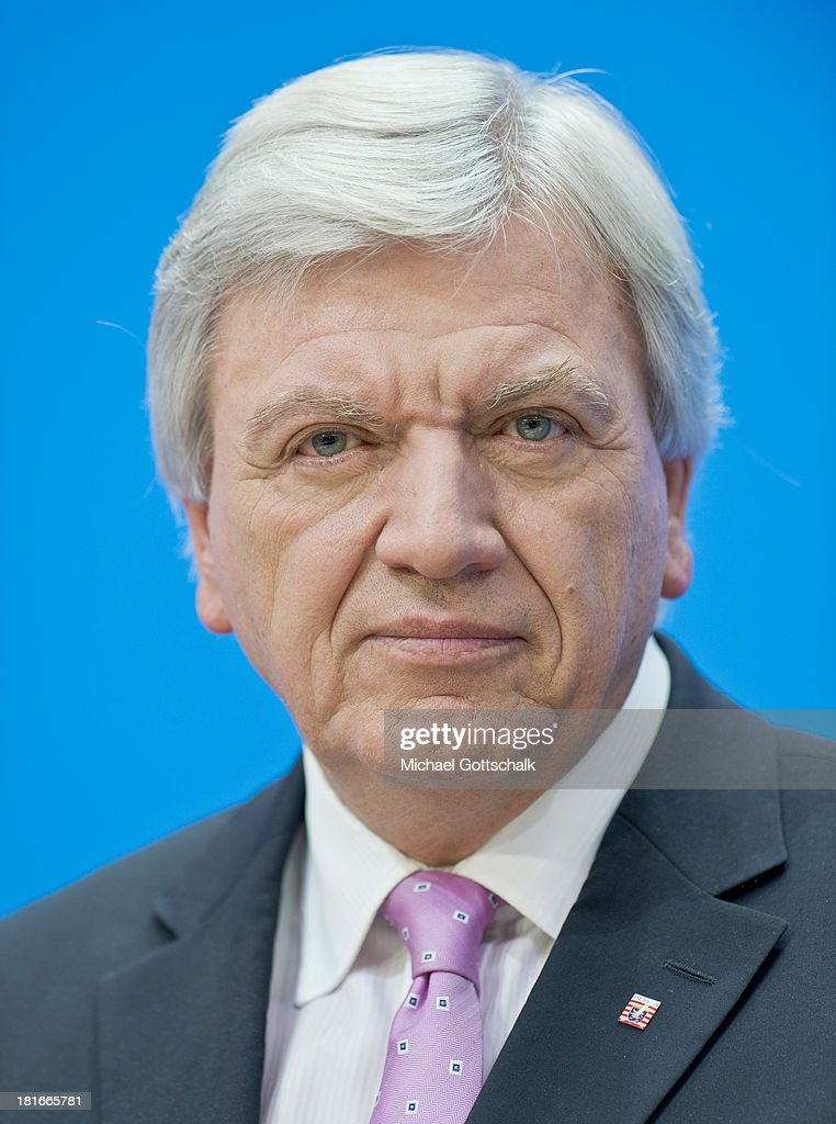 Minister-president of Hesse Volker Bouffier (CDU) during a press conference at CDU headquarters on September 23, 2013 in Berlin, Germany. The CDU finished with approximately 42% of the vote, which puts the party just shy of a majority of seats in the Bundestag. The CDU will now face the task of finding a coalition partner, which is complicated by the failure of its current partner, the German Free Democrats (FDP), to stay above the 5% necessary to retain its Bundestag seats.