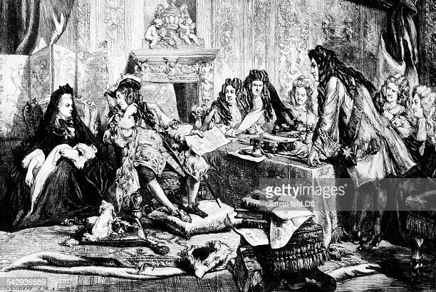 Ministerrat von Ludwig XIV im Zimmer der Marquise de Maintenon li neben dem König