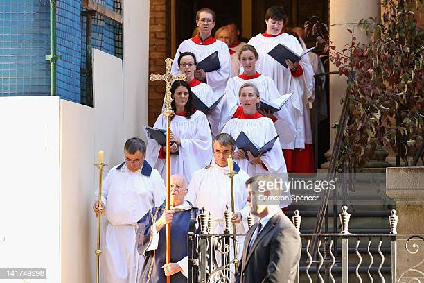 Ministers and a choir leave the memorial service for Margaret Whitlam at St James Anglican Church on March 23 2012 in Sydney Australia Mrs Whitlam...
