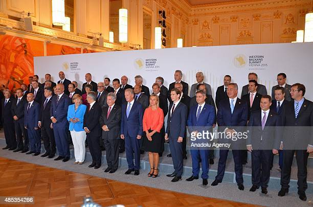 Ministers and EU Commissioners pose for a family photo at the Western Balkans Summit Vienna 2015 on August 27 2015