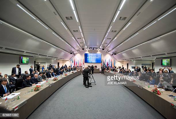 OPEC ministers attend a meeting of the Organization of the Petroleum Exporting Countries OPEC at the OPEC headquarters in Vienna Austria on November...