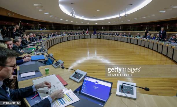 Ministers attend he start of the first round of postBrexit trade deal talks between the EU and the United Kingdom in Brussels on March 2 2020