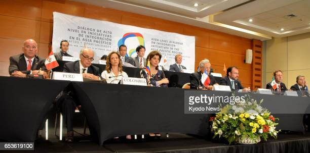 Ministers from 11 TransPacific Partnership free trade agreement member countries hold a joint press conference in Vina del Mar Chile on March 15 2017...