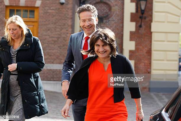 Ministers Lilianne Ploumen of Foreign Trade and Jeroen Dijsselbloem of Finance are seen arriving at the weekly ministers council in The Hague on...