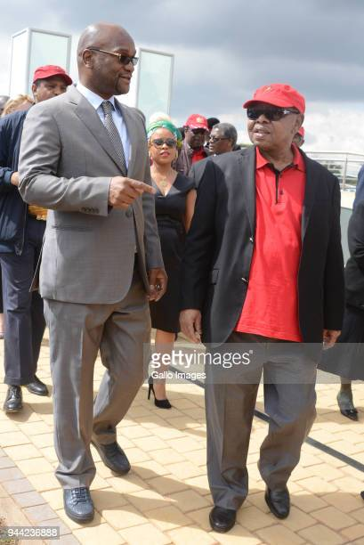 Ministers Nathi Mthethwa and Blade Nzimande during the 25 year anniversary commemorating Chris Hanis death on April 10 2018 in Boksburg South Africa...