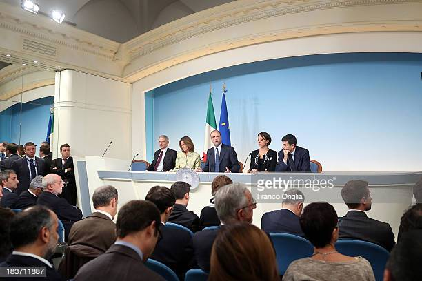 ROME ITALY OCTOBER 09 Ministers of the PDL Gaetano Quagliariello Beatrice Lorenzin Angelino Alfano Nunzia de Girolamo and Maurizio Lupi attend a...