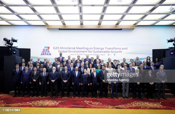 Ministers pose for a family photo after the G20 Environment and Energy Ministers meeting in Nagano, Japan on June 15, 2019.