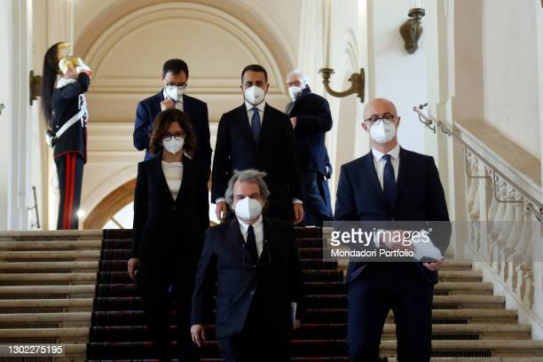 Ministers Renato Brunetta, Mariastella Gelmini, Federico D'Inca, Luigi Di Maio, Stefano Patuanelli leave the Quirinale after the traditional swearing...