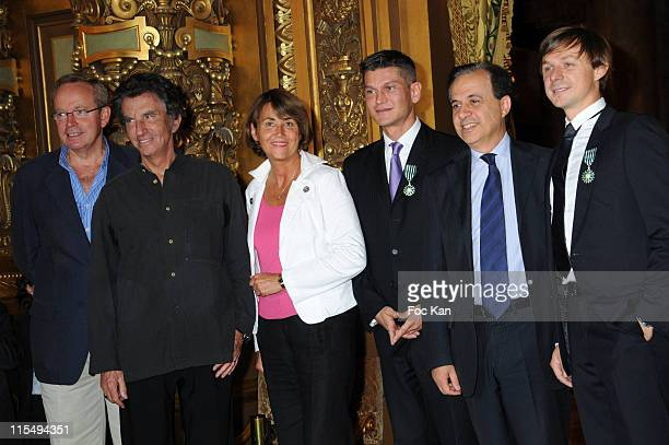 Ministers Renaud Donnedieu de Vabres Jack Lang Christine Albanel Antoine Baduel from FG Radio Minister Roger Karoutchi and DJ Solveig attend the DJ...