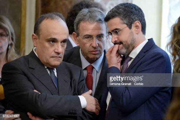Ministers Riccardo Fraccaro Sergio Costa and Alberto Bonisoli during the oath of the Vice Presidents and Subsecretaries at Palazzo Chigi on June 13...