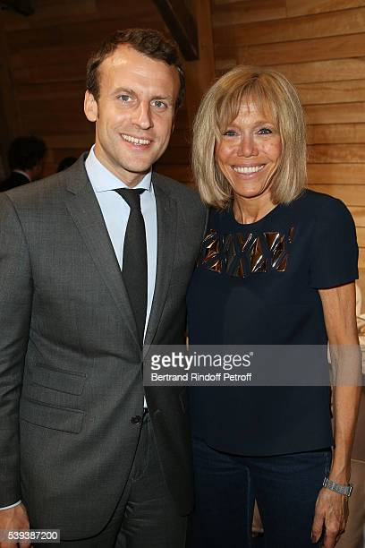 Ministre de l Economie Emmanuel Macron and his wife Brigitte Macron attend the 'College Royal et Militaire de ThironGardais' Exhibition Rooms...