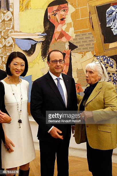 Ministre of Culture Fleur Pellerin Maya Widmaier Picasso daughter of Pablo Picasso French President Francois Hollande inaugurate the Pablo Picasso...