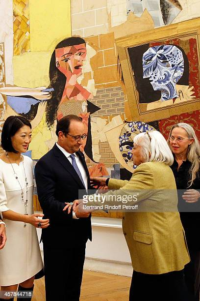 Ministre of Culture Fleur Pellerin Maya Widmaier Picasso daughter of Pablo Picasso French President Francois Hollande Anne Baldassari inaugurate the...