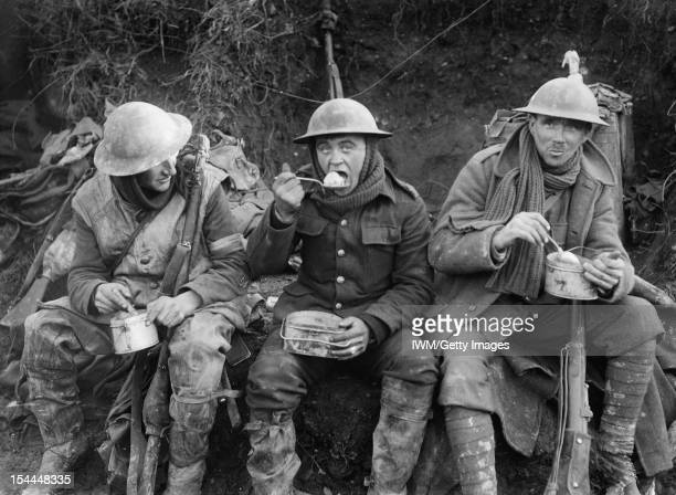 Ministry Of Information First World War Official Collection British soldiers eating hot rations in the Ancre Valley during the Battle of the Somme...