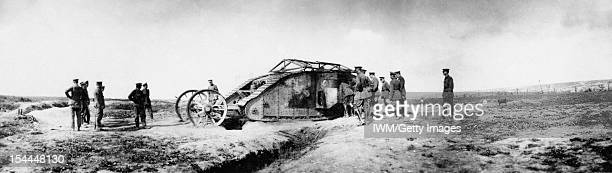 Ministry Of Information First World War Official Collection, King Albert I of Belgium inspects an abandoned Mark I tank, left over from the Battle of...