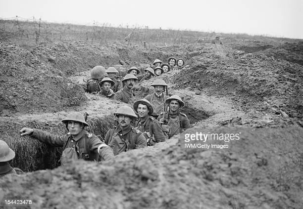 Ministry Of Information First World War Official Collection Men of the 11th Battalion Royal Inniskilling Fusiliers in a captured German...