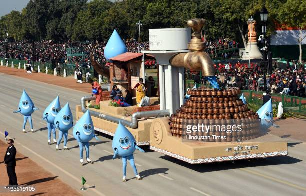 Ministry of Jal Shakti tableau displayed during the full dress rehearsal for the Republic Day parade at Rajpath on January 23 2020 in New Delhi India
