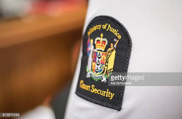 Ministry of Justice Court Security badge is seen during the Murder Trial case at Christchurch High Court on February 26 2016 in Christchurch New...