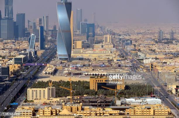 ministry of municipal and rural affairs and al majdoul twisted tower, king fahd road, riyadh, saudi arabia - riyadh stock pictures, royalty-free photos & images