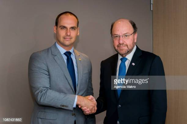 Ministry of Social Development Alfredo Moreno shakes hands with Eduardo Bolsonaro elected Deputy of Brazil during official photo in the Ministry of...