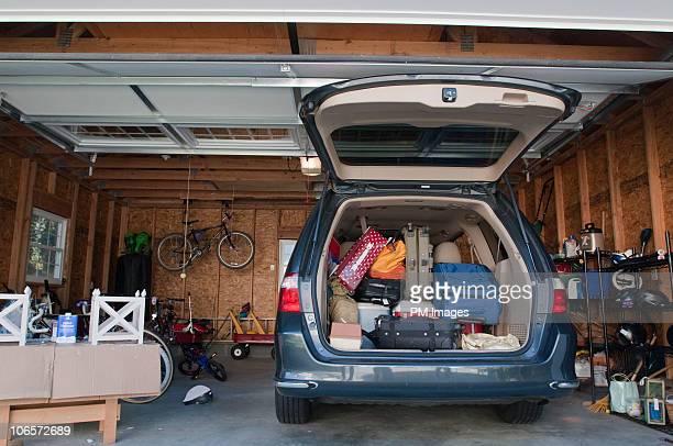 Mini-van packed for trip