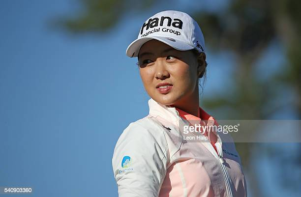 Minjee Lee looks towards the fans on the 10th tee during the second round of the Meijer LPGA Classic on June 17 2016 at Blythefield Country Club in...