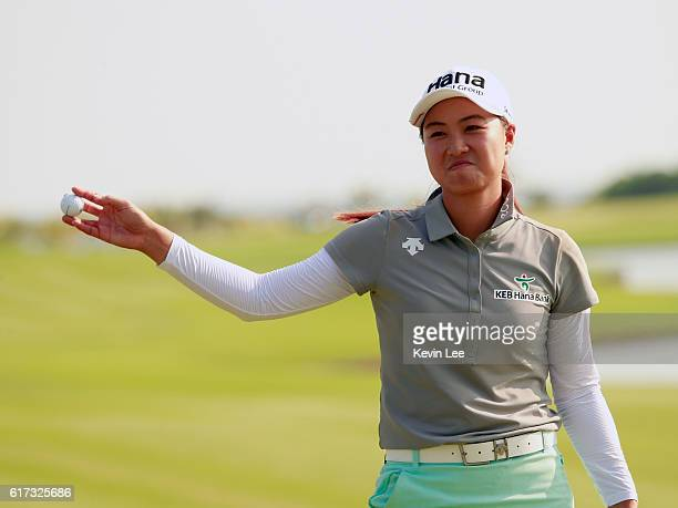 Minjee Lee of Australia acknowledges to spectators after winning the final round of the Blue Bay LPGA on Day 4 on October 23 2016 in Hainan Island...