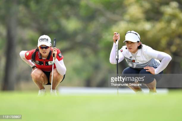 Minjee Lee of Australia and Amy Yang of Republic of Korea looks on green during the final round of the Honda LPGA Thailand at the Siam Country Club...