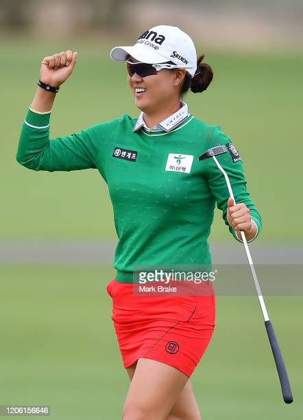 Minjee Lee of Australia celebrates dropping a birdie putt on the 18th during day two of the 2020 ISPS HANDA Women's Australian Open at Royal Adelaide...