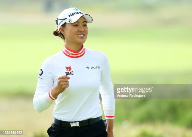 Minjee Lee of Australia celebrates her birdie on the 16th green during the final round of the AIG Women's Open at Carnoustie Golf Links on August 22,...