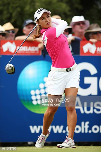 Minjee Lee of Australia competes during day two of the ISPS Handa Women's Australian Open at The Grange GC on February 19 2016 in Adelaide Australia