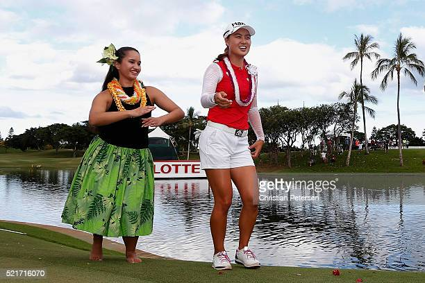 Minjee Lee of Australia dances the hula on the 18th green after winning the LPGA LOTTE Championship Presented By Hershey at Ko Olina Golf Club on...