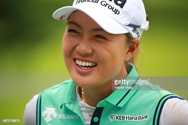 Minjee Lee of Australia gestures during the second round of Lorena Ochoa Invitational 2015 at the Club de Golf Mexico on November 13 2015 in Mexico...