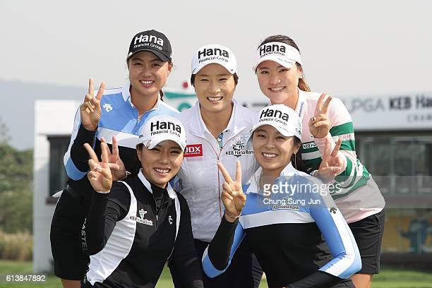 Minjee Lee of Australia HeeYoung Park SeRi Pak MJ Hur and SoYeon Ryu of South Korea pose during the photo call ahead of the LPGA KEBHana Bank...