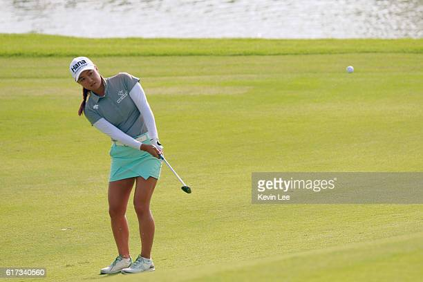 Minjee Lee of Australia hits an approaching shot on the 18th green during the final round of the Blue Bay LPGA on Day 4 on October 23 2016 in Hainan...