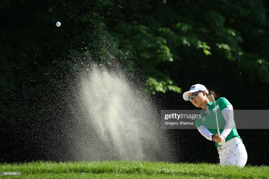 Minjee Lee of Australia hits from a bunker to the sixth green during the third round of the LPGA Volvik Championship on May 26, 2018 at Travis Pointe Country Club Ann Arbor, Michigan.