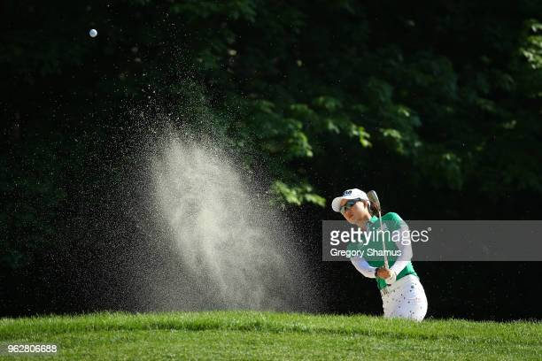Minjee Lee of Australia hits from a bunker to the sixth green during the third round of the LPGA Volvik Championship on May 26 2018 at Travis Pointe...