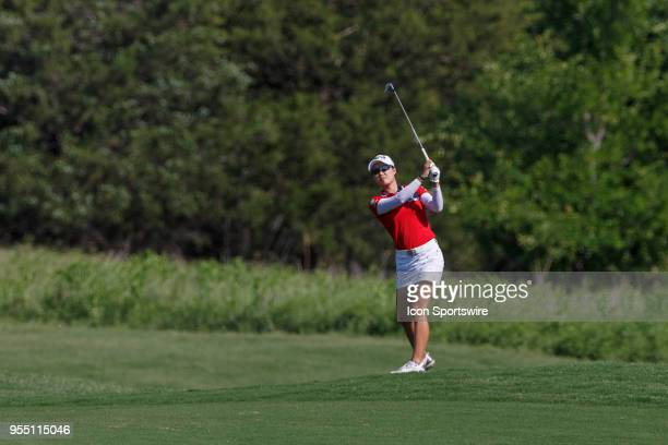 Minjee Lee of Australia hits her approach shot to during the LPGA Volunteers of America Texas Classic on May 5 2018 at the Old American Golf Club in...