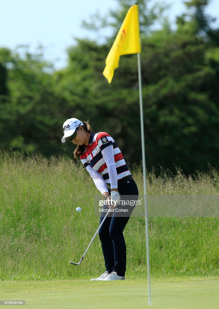 Minjee Lee of Australia hits her second shot on the 17th hole during the first round of the ShopRite LPGA Classic Presented by Acer on the Bay Course at Stockton Seaview Hotel and Golf Club on June 8, 2018 in Galloway, New Jersey.
