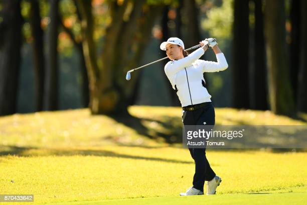 Minjee Lee of Australia hits her second shot on the 9th hole during the final round of the TOTO Japan Classics 2017 at the Taiheiyo Club Minori...