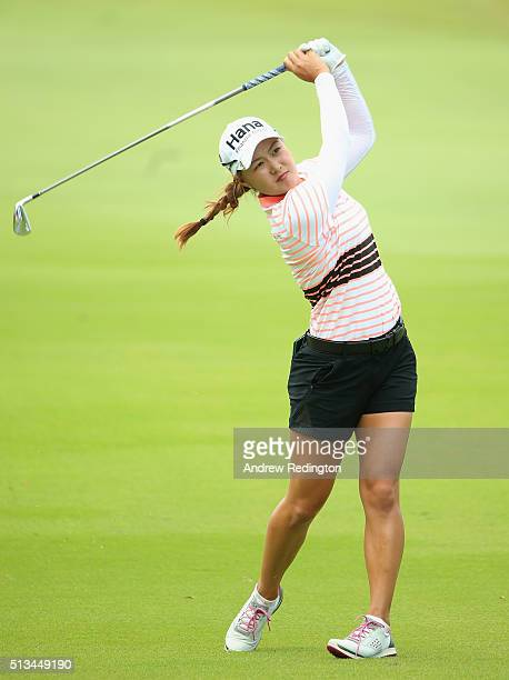 Minjee Lee of Australia hits her second shot to the 18th hole during the first round of the HSBC Women's Champions at Sentosa Golf Club on March 3...