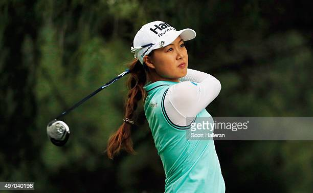 Minjee Lee of Australia hits her tee shot on the 12th hole during the second round of the Lorena Ochoa Invitational Presented By Banamex at the Club...