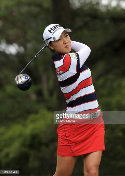 Minjee Lee of Australia hits her tee shot on the 12th hole during the second round of the Kingsmill Championship presented by Geico on the River...