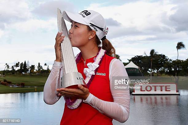 Minjee Lee of Australia kisses the LOTTE Championship trophy after winning in the final round of the LPGA LOTTE Championship Presented By Hershey at...